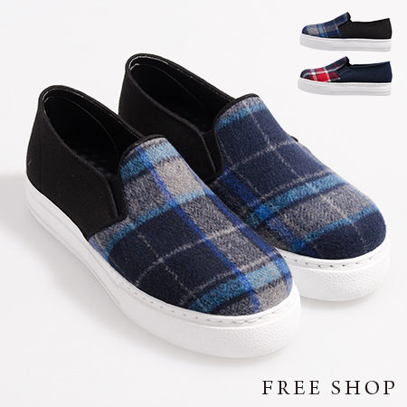Free Shop【QSH0381】日韓風格格紋混色毛呢造型舒適厚底休閒鞋懶人鞋‧二色(FR01) MIT台灣製