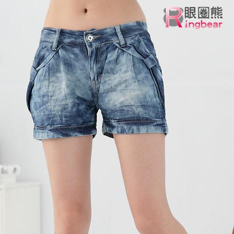 牛仔褲--俏皮蝴蝶結渲染彈性褲頭薄牛仔短褲(藍M-2L)-R70眼圈熊中大尺碼