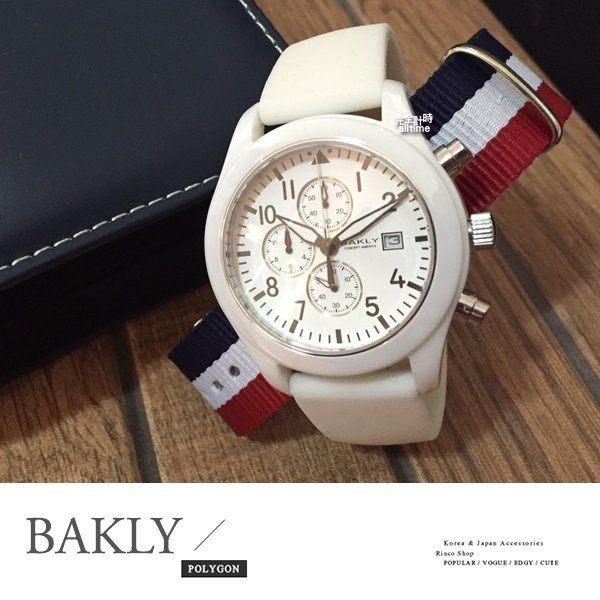 【完全計時】手錶館│BAKLY 精密陶瓷 時尚三眼計時陶瓷錶 BAS3102-W 買一送一 買錶送帶