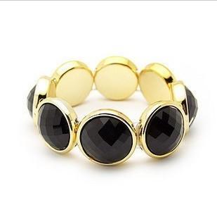 【蕾蒂貓+現貨供應】 金邊黑寶石鑲嵌 奢華典雅 百搭手鏈手鍊 只有黑色款喔!【PT00HA01】