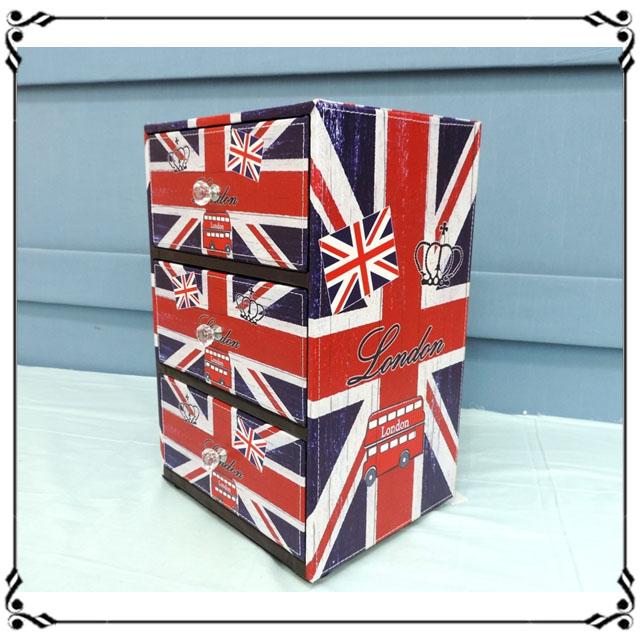 木製小斗櫃小3抽《LN1》英國國旗三抽櫃 小型3抽櫃 皮革收納櫃 兒童玩具櫃 辦公室◤彩虹森林◥