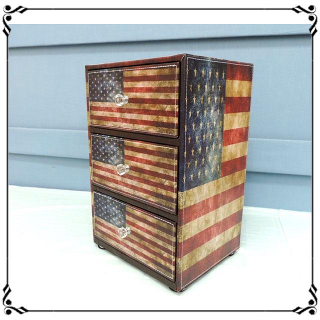 木製小斗櫃小3抽《LN7》英倫風 美國國旗三抽櫃 小型3抽櫃 皮革收納櫃 兒童玩具櫃 辦公室◤彩虹森林◥