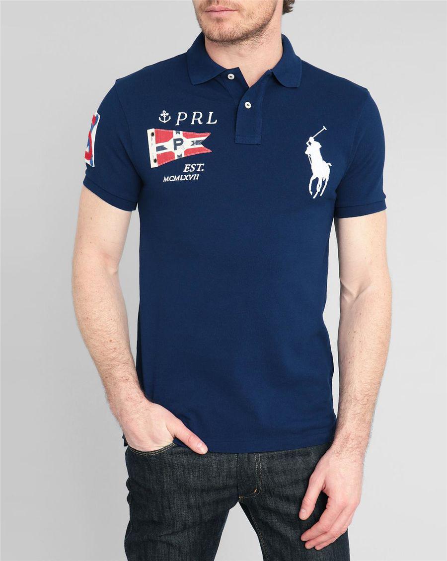 美國百分百【Ralph Lauren】Polo衫 RL 短袖 Polo 大馬 深藍 旗幟 國旗 男 XS XXS號 F236