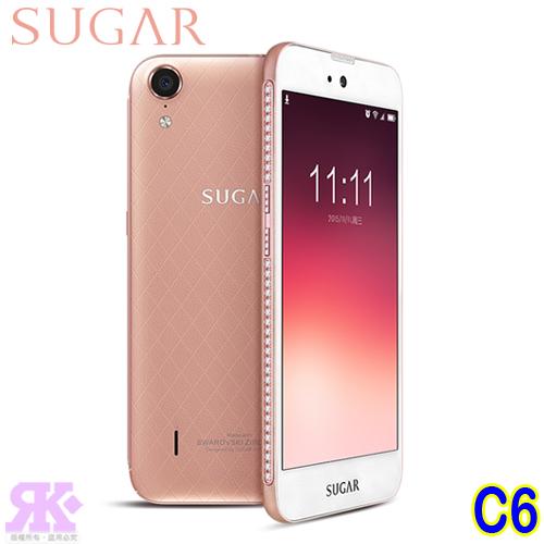 SUGAR C6 5吋四核施華洛世奇美鑽機(高規版)-玫瑰金-贈專用清水套+玻璃保貼+32G記憶卡+多功能收納包+彩色傳輸線+手機/平板支架