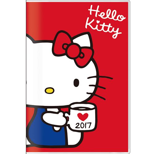 下殺64折《 SANRIO 》 Hello Kitty - 凱蒂貓 2017年月間手帳 行事曆 ( B7、紅 )