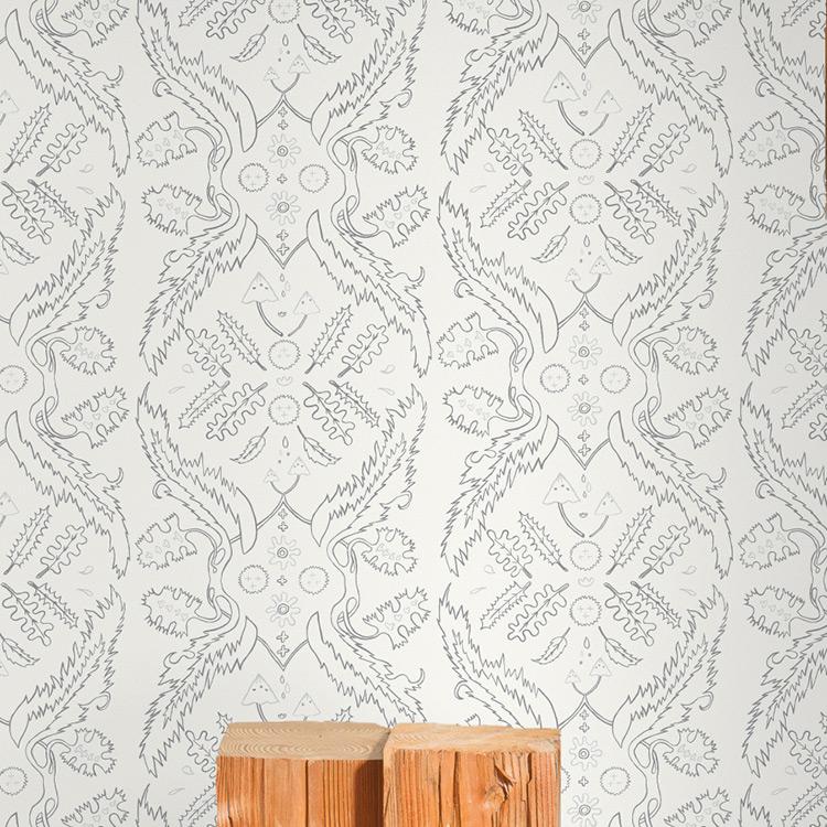 JUJU Papers / Salad Days / Grey and Silver on Cream 壁紙 (訂貨單位68.58cm×914cm/卷)