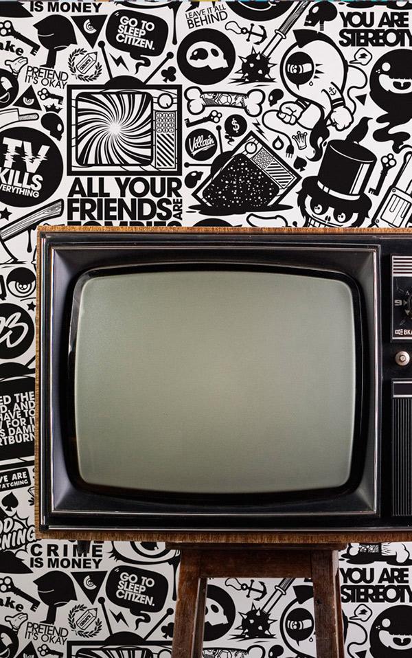 Wallpaper Republic TV Kills Everything / WR0121JN  壁紙 (訂貨單位61.5cm×10m/卷)