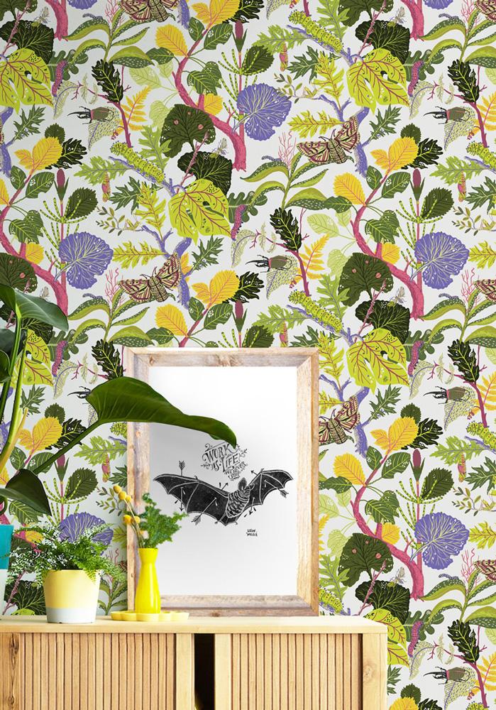 Milton & King KINGDOM HOME Caterpillar KH076 White 壁紙 (訂貨單位61.5cm×10m/卷)