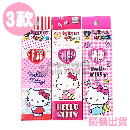 〔小禮堂韓國館〕Hello Kitty 六角鉛筆組《4支入.3款.隨機出貨.冰淇淋/餅乾/仙女棒》B筆芯