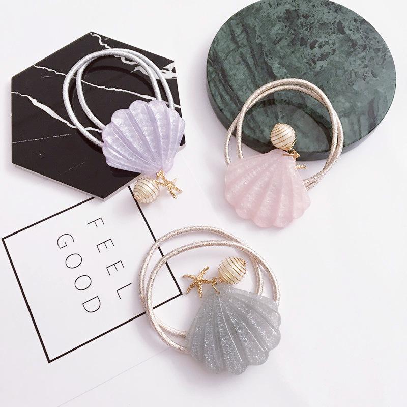 亮彩貝殼海星珍珠彈力髮束