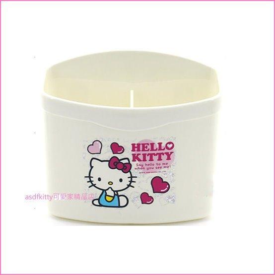asdfkitty可愛家☆KITTY白色2格吸盤置物架-可放牙膏.梳子.筷子.湯匙-韓國正版商品