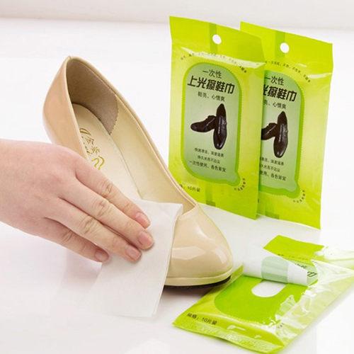 護鞋士 一次性去污上光擦鞋巾 皮具護理濕巾/10片入