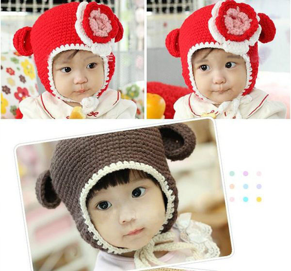 韓版 冬季兒童大花朵編織帽 護耳帽