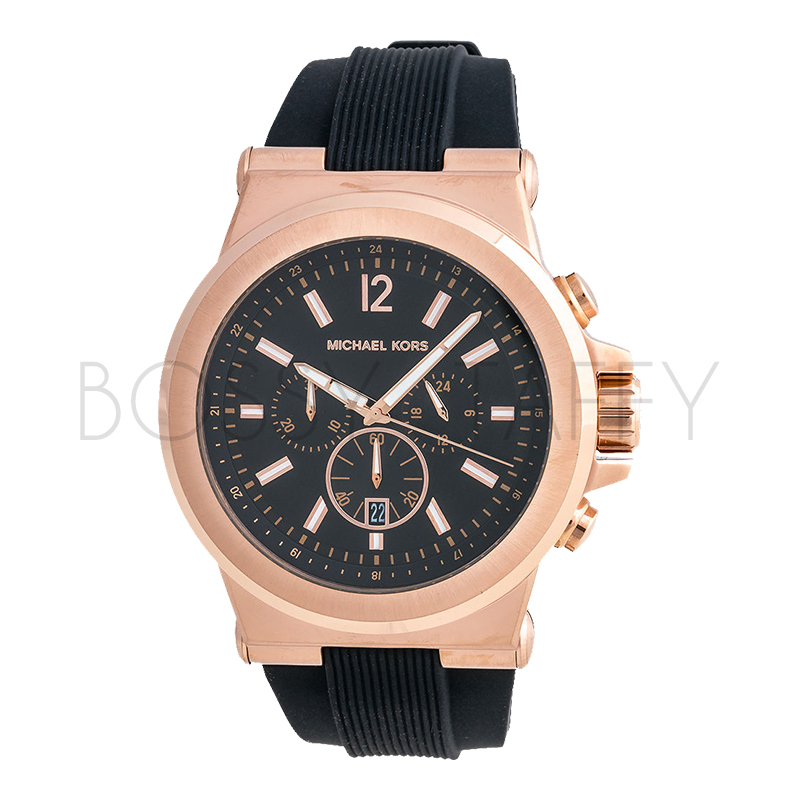 MK8184 MICHAEL KORS 黑色矽膠金錶盤大錶面三眼手錶