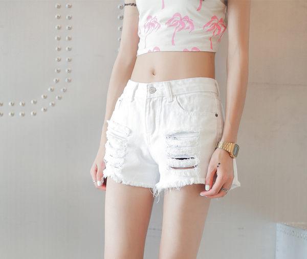 PS Mall PS Mall 韩版 个性破洞刷破毛边牛仔短裤 磨破牛仔裤 短裤 热裤