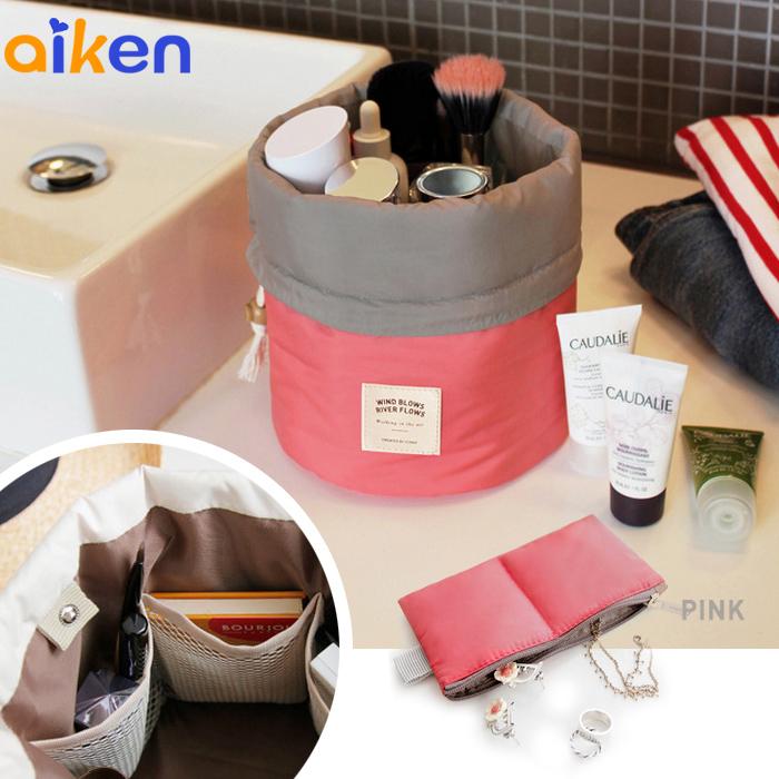 【艾肯居家生活館】 圓筒化妝品 收納包 化妝 外出 旅行 包中包 收納包 化妝包 -J1711-009