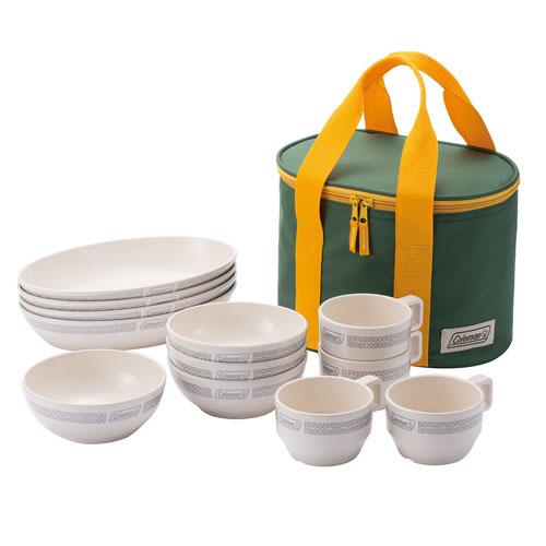 【露營趣】中和 附手電筒 Coleman 晶格餐盤組/白 餐具組 碗 盤子 杯子 CM-26765
