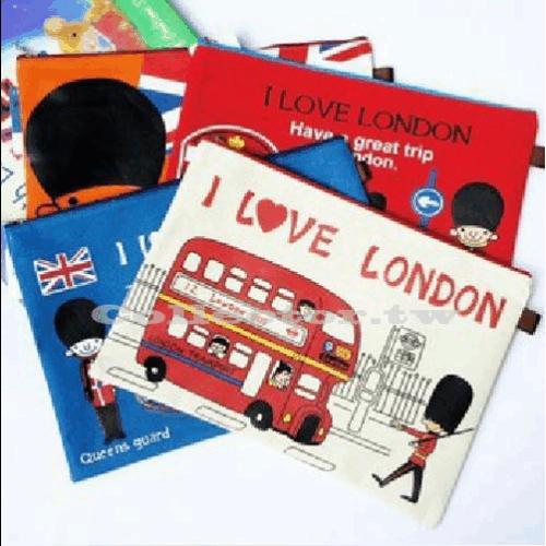 【L13100301】飛越倫敦 牛津布拉鍊資料袋(A4) 帆布文件袋
