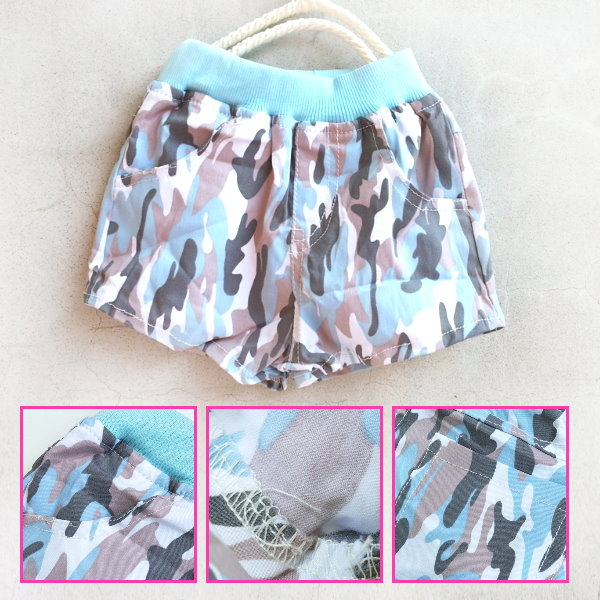 【班比納精品童裝】彈力迷彩短褲-天藍【BM150617010】