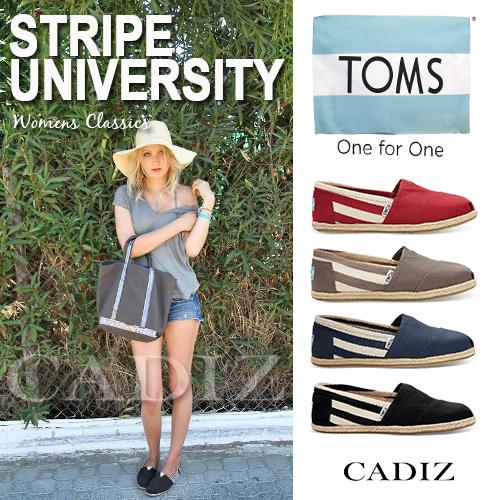 【Cadiz】美國真品正品 TOMS 帆布鞋條紋男女休閒鞋 [ University/ 黑/ 紅/ 灰/ 藍/ 代購]