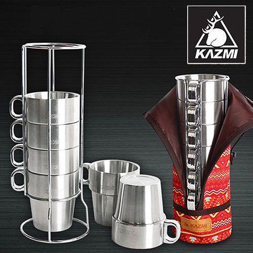【露營趣】中和 KAZMI K4T3K004 不鏽鋼雙層馬克杯6入組 保溫杯 斷熱杯 啤酒杯 露營旅行杯組