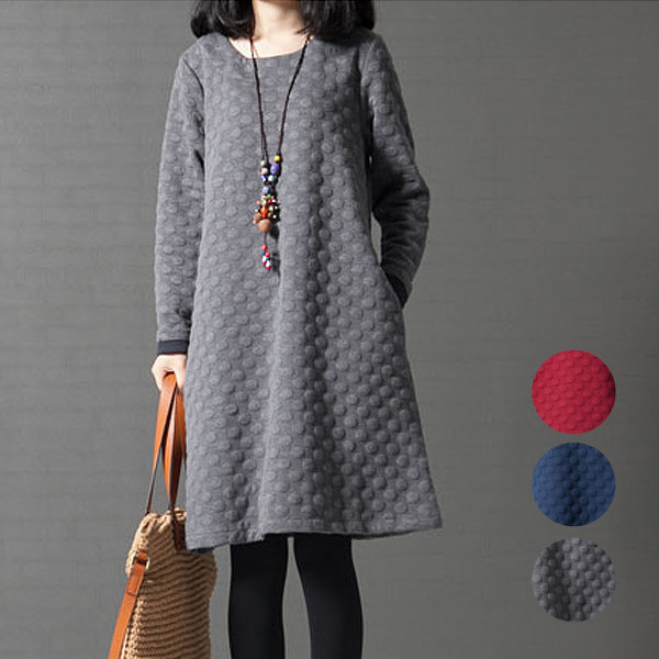 滿700再折$100 森女優雅圓領夾棉加厚長袖洋裝(3色,M-2XL) - 御聖願