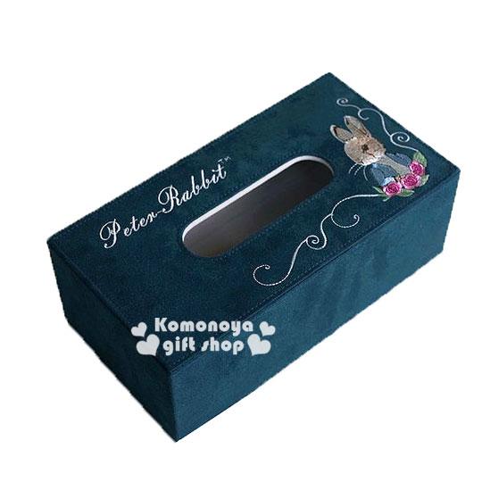 〔小禮堂〕彼得兔 仿麂皮刺繡面紙盒《深綠.側臉.玫瑰》居家室內.汽車內適用