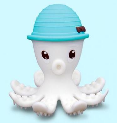 【淘氣寶寶】mombella 固齒器 樂咬咬章魚 藍色