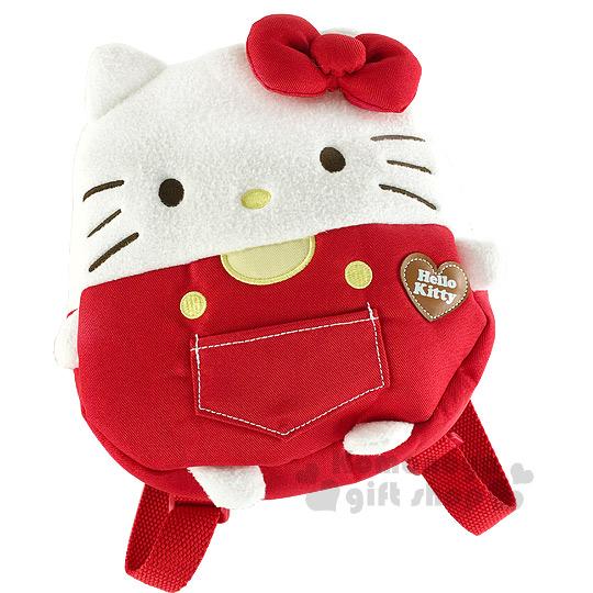 〔小禮堂〕Hello Kitty 兒童絨毛後背包《白紅.大臉.立體耳朵&蝴蝶結》吊帶褲設計