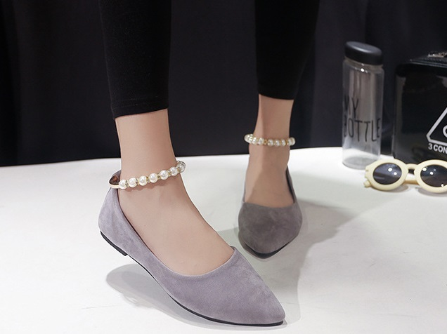 Ms.Perfect韓版珍珠一字扣尖頭平底鞋