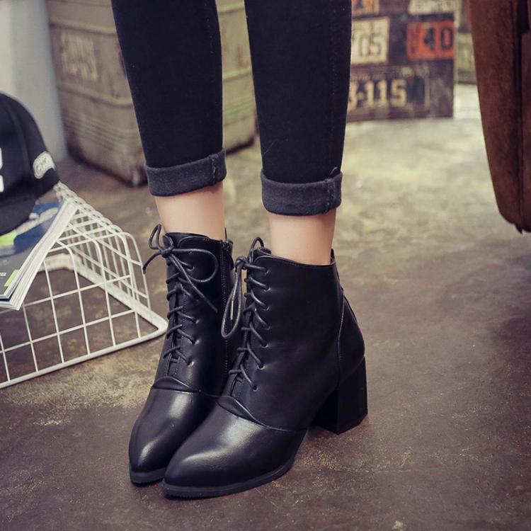歐美綁帶尖頭漆皮粗跟拉鍊時尚短靴馬丁靴-深灰/黑/酒紅35-39預購【no-522784579071】