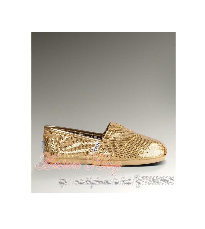 [女款] 國外代購TOMS 帆布鞋/懶人鞋/休閒鞋/至尊鞋 亮片系列  金色