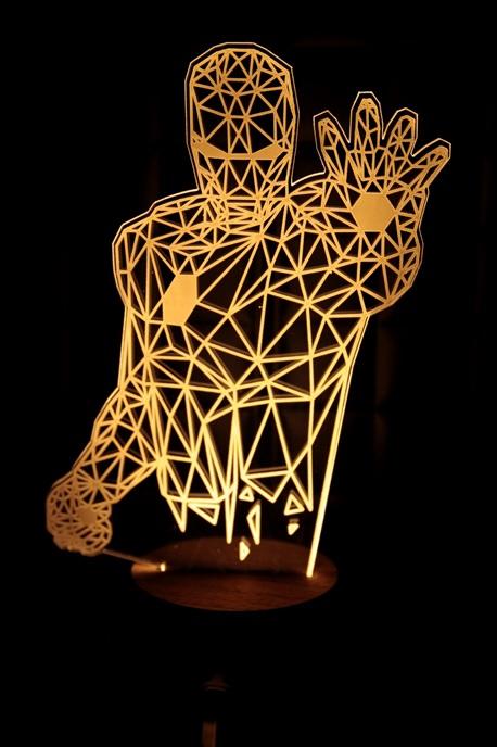 LED 造型 3D立體燈 鋼鐵人造型 木質底座  小夜燈 氣氛燈 造型燈 USB 生日禮物 聖誕禮物
