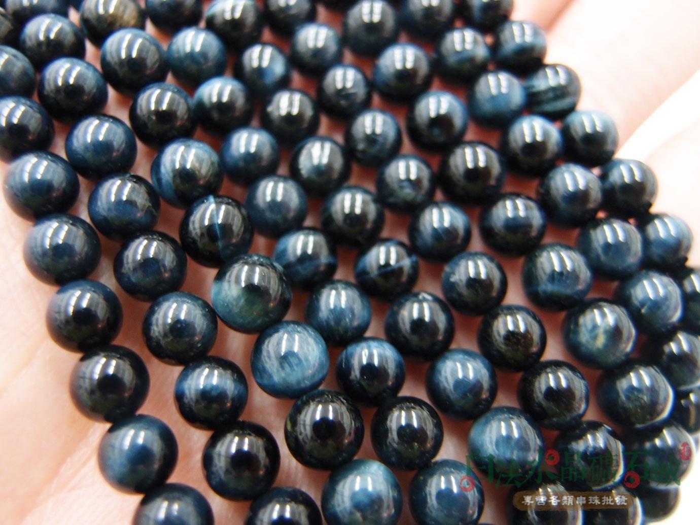 白法水晶礦石城 南非 天然-虎眼石-藍色 6mm 礦質-漂亮珠子 藍色暈光明顯- 串珠/條珠 首飾材料