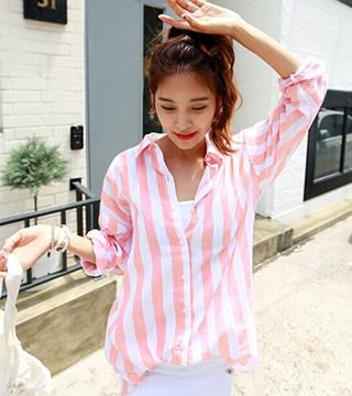 街頭風粉紅長款條紋시퐁셔츠襯衫十天預購+現貨