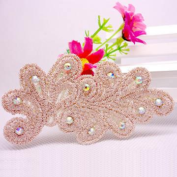 WallFree窩自在 鏤空蕾絲/珍珠/鑲鑽魔法瀏海貼片-貼鑽蕾絲40