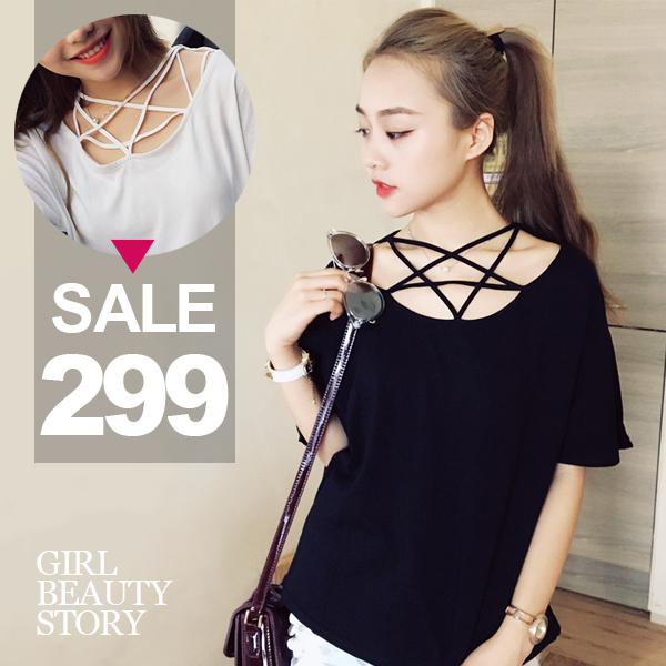 SISI【T6069】性感鏤空交叉五角星形設計領口短袖純色寬鬆顯瘦T恤棉質上衣