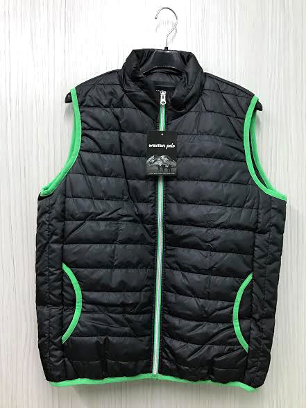 【巷子屋】男/女款滾邊科技保暖鋪棉背心外套 黑色 超值價$250