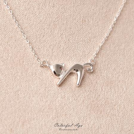 925純銀項鍊 俏皮幾何貓咪造型鎖骨鍊頸鍊 甜美氣質 柒彩年代【NPB57】抗過敏設計