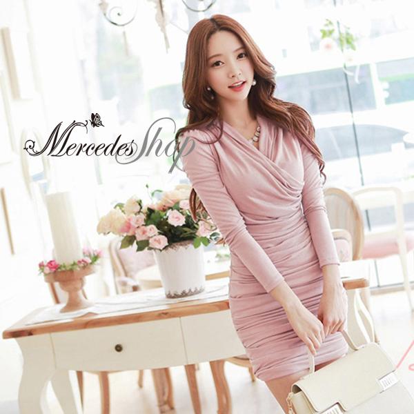 [現貨出清6折] 韓國性感V領修身顯瘦皺褶長袖洋裝 - 梅西蒂絲