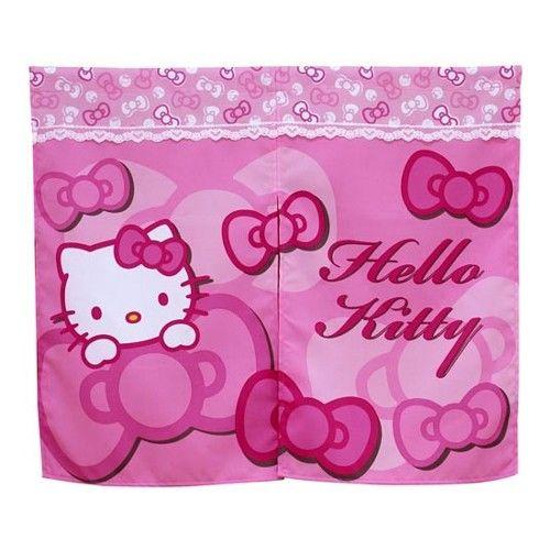 米粒爸爸@Hello Kitty門簾 中門簾 日式門簾 粉紅 蝴蝶結