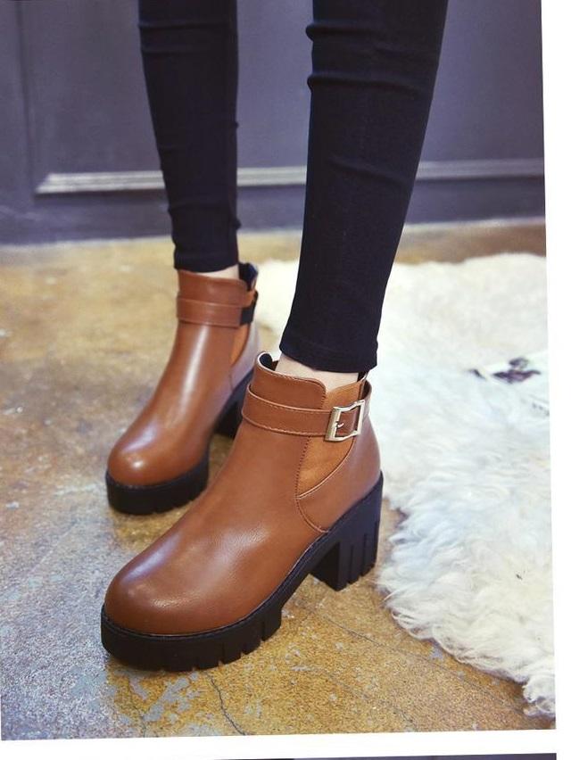 Ms.Perfect秋冬歐美扣環粗跟高跟靴