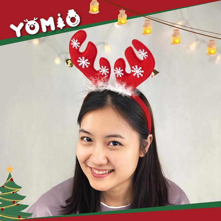 【888便利購】短版麋鹿角聖誕造型髮箍(帶羽毛+鈴噹+雪花)(大人小孩皆可戴)(量大可優惠)