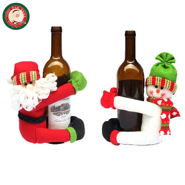 【888便利購】聖誕裝飾大人偶抱紅酒瓶身(香檳酒套)(多款可以挑選)(居家餐廳佈置)