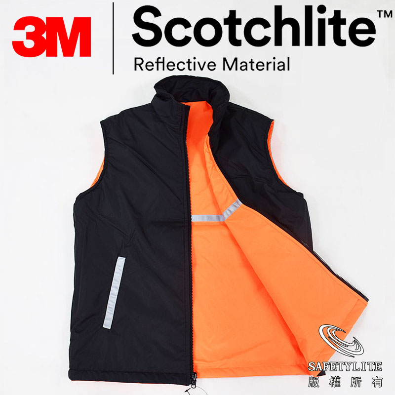 【safetylite安心生活館】《滿899免運、滿千贈禮》橘黑3M Thinsulte鋪棉保溫防水正反造型機能背心~超保暖3M Thinsulate