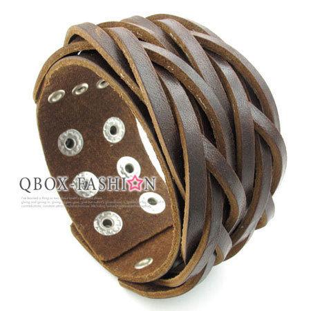《 QBOX 》FASHION 飾品【W10023066】精緻個性編織交叉寬版皮革手鍊/手環(咖啡色)