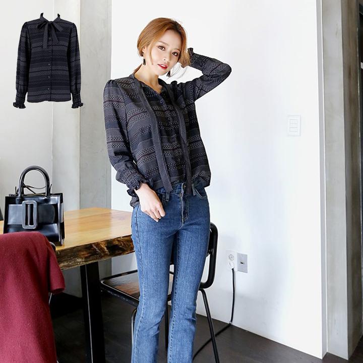 Missyoyo  韓系百搭復古花色繫帶燈籠袖襯衫【J162185】-預購
