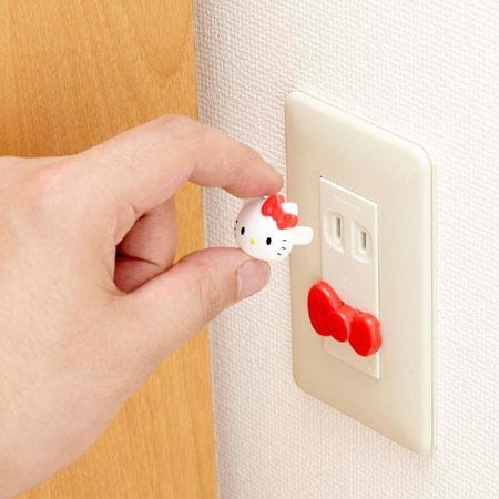 【真愛日本】16080400037電器插孔安全保護扣四入-KT    三麗鷗 Hello Kitty 凱蒂貓 居家 家飾 正品