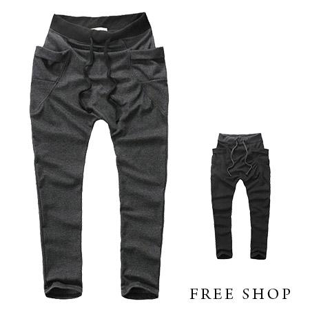 Free Shop【QH0182】美式休閒大口袋素面腰間撞色彈性抽繩棉質運動褲棉褲長褲‧二色