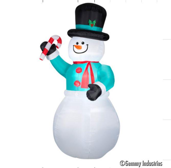 X射線【X027885】366cm充氣12尺雪人拿糖果棒,聖誕佈置/充氣擺飾好收納/聖誕充氣/佈置/開幕/會場佈置/打卡